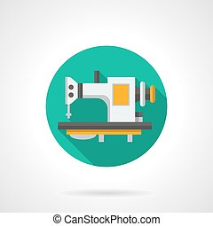 Sewing machines store round flat vector icon