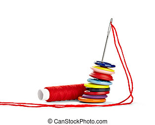 sewing needle and string tailor craft - close up of sewing...
