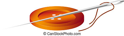 Sewing needle and thread with button on white background
