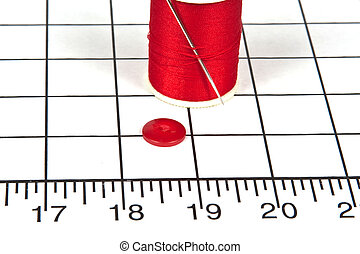 Sewing Needle, Button and Thread