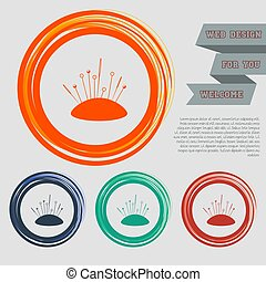 Sewing Needle icon on the red, blue, green, orange buttons for your website and design with space text. Vector
