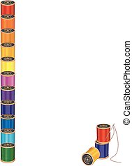 Spools of multicolor sewing thread with embroidery needle, blank letterhead poster frame, for sewing, tailoring, quilting, crafts, needlework, do it yourself projects, isolated on white, EPS8 compatible.