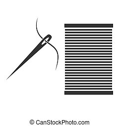 Sewing needle with thread Glyph icon vector concept