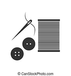 Sewing needle with thread Glyph icon vector concept illustration for
