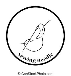 Sewing needle with thread icon