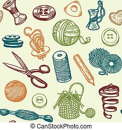 Sewing Needlework Seamless Pattern - Sewing And Needlework...