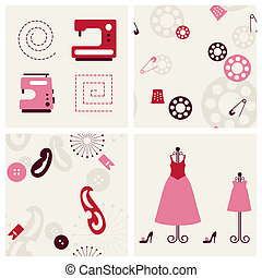 Sewing objects and backgrounds set.