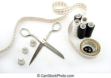 Sewing objects - sewing objects on white background