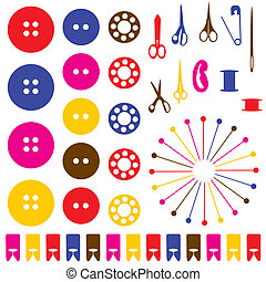 Sewing objects silhouettes set. Vector illustration.