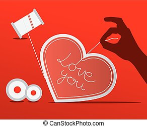 Sewing Paper Heart with Human Hand on Red Background