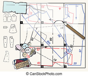 Sewing pattern and accessories including buttons, thread,...