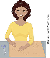 Sewing Pattern - Illustration Featuring a Girl Tracing a...