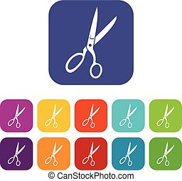 Sewing scissors icons set