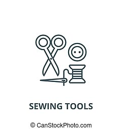 Sewing, scissors, thread, needle, button vector line icon, linear concept, outline sign, symbol