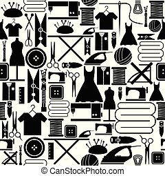 sewing seamless pattern background icon.