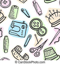 Sewing seamless pattern - hand drawn illustration