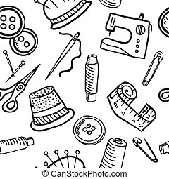Sewing seamless pattern - hand drawn illustration - Sewing...