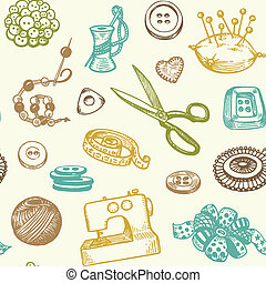 Sewing Seamless Pattern - Sewing And Needlework Doodles...
