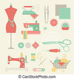 sewing set vector illustration flat style icons
