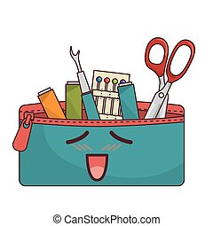 Sewing set comic character isolated icon vector illustration...