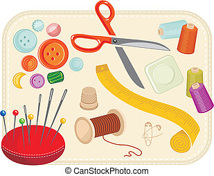 Sewing Set - Sewing set with various tools and accessories