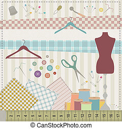 Sewing set - Colorful illustration of various sewing tools...