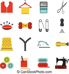Sewing set flat icons