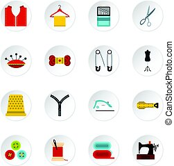 Sewing set flat icons - Sewing set icons in flat style...