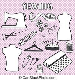 Sewing set. Hand-drawn cartoon tools. Doodle drawing.