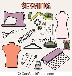 Sewing set. Hand-drawn cartoon tools. Doodle drawing. -...
