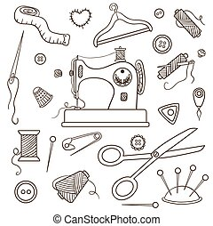 Sewing set. Isolated on white. Vector cartoon illustration.