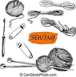 Sewing. Set of illustrations - Sewing set. Set of hand drawn...