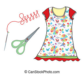 Sewing set with needle, scissors and dress icons