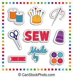 Sewing Stickers, Rainbow Colors - Sewing Stickers, for DIY...