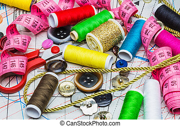 Sewing on the background of pattern