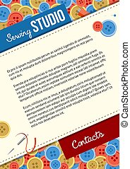 Sewing studio poster template with buttons and sewing items
