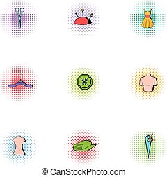 Sewing supplies icons set, pop-art style