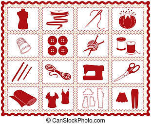 Tools and supplies icons for sewing, tailoring, dressmaking, needlework, quilting, darning, textile arts, crafts, do it yourself projects red rickrack frame.