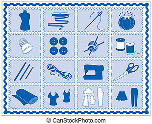 Tools and supplies icons for sewing, tailoring, dressmaking, needlework, quilting, darning, textile arts, crafts, do it yourself projects, blue rickrack frame.