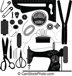A set of sewing equipments and tools.