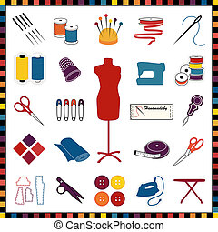 Multicolor icons for sewing, tailoring, dressmaking, needlework, hobby, do it yourself crafts: needle, thread, model, ribbon, scissors, machine, pins, iron, cloth, label, thimble, button, label, buttons. EPS8 compatible.