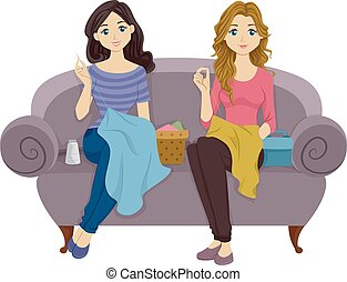 Sewing Teens - Illustration Featuring Female Teenagers...