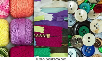 Sewing Thread Buttons and Zippers - Collage of many...