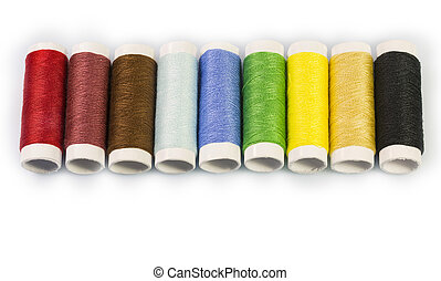 Sewing thread on a white background