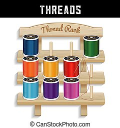 Sewing Thread Wood Rack, Needle - Three shelf pine wood ...