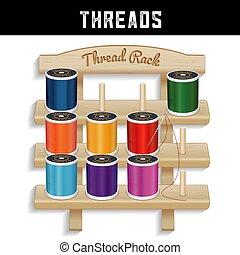 Sewing Thread Wood Rack, Needle - Three shelf pine wood ...
