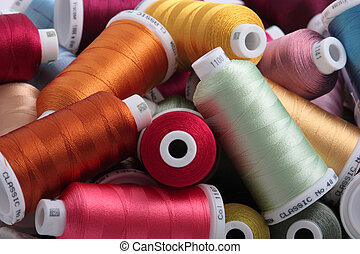 Colorful threads for embroidery with selective focus