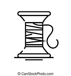 Sewing threads line icon, concept sign, outline vector illustration, linear symbol.