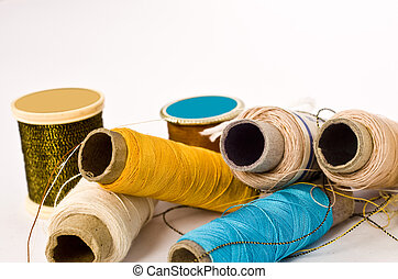 sewing threads on isolated background