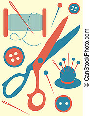 sewing tools icons on light yellow background